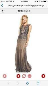 Adrianna Papell Petite Sleeveless Beaded Illusion Gown (10-12)