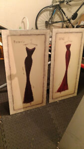 2 stylish MINT Paris-inspired wooden dress paintings - $80
