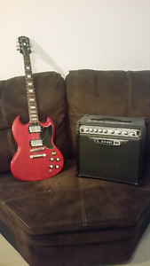 Epiphone SG Red with Line 6 Spider III 15w Practise Amp