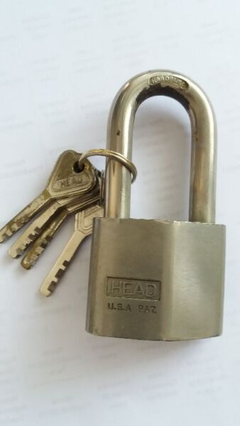 A HIGH SECURITY USA PADLOCK, HEAD, with 4 Original Keys - USED & GOOD WORKING Condition
