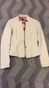 Genuine White Leather Danier Biker Jacket $70