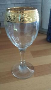 6 Wine Glasses with Gold Accent - NEW ** REDUCED **