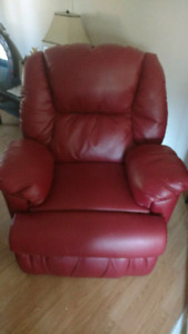 Bonded red leather power recliner