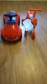 Toys sit on