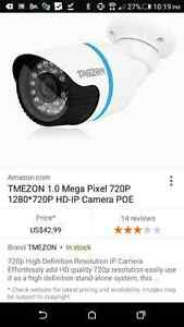 (4) Four 1.0MP HD IP POE Security Cameras