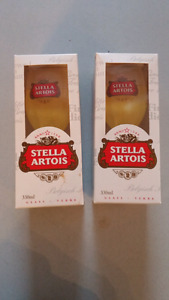 PAIR OF STELLA ARTOIS BEER GLASSES NEW IN BOXES