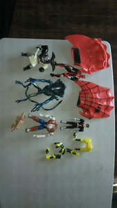 Kids action figures and spider man gloves