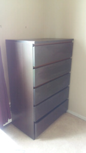 Dark wood 5 drawer dresser  (obo)