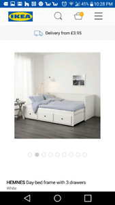 Children's Daybed frame complete with 3 drawers, white, Twin