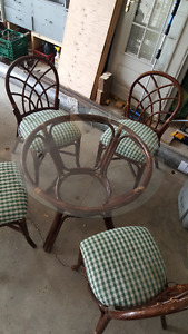 rattan round glass table and chairs