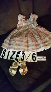 Dress 3-6 months and sandals  $5 Wear 1 time , like new  **