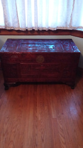 Chinese treasure chest hand carved $125.00