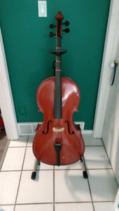 Cello + Soft case, Stand and floor guard