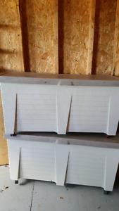 Rubbermaid outside storage bins on rollers