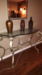 Glass top sofa table