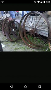 Steel wagon wheels.