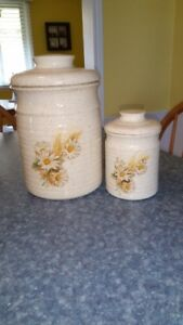 2 Piece Ceramic Canister Set For Sale