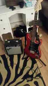 fender squite strat with amp and accessories