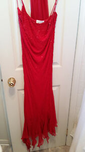 GORGEOUS RED BEADED PROM DRESS