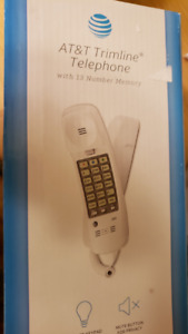 AT&T Trimline Single Line Phone - White - Standalone or Wall Mou