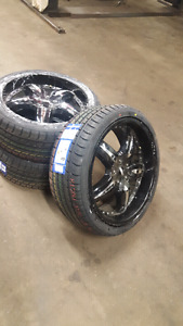 """20"""" univeral rims with new tires  going for $900 never used."""