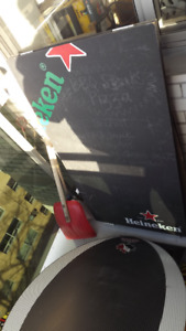 VARIOUS HEINEKEN ITEMS:2 SANDWICH BOARDS,CHALKBOARD,ART POSTER