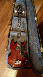 Epiphone EB-0 bass with hard shell case.