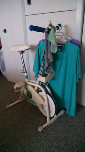 Combination clothes rack/exercise bike