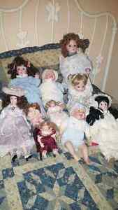 Porcelain dolls. Most from the 90s.