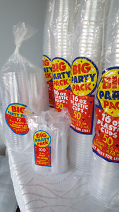 Plastic disposable glasses various sizes (clear)