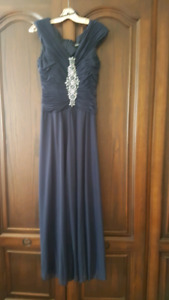 Evening Dress - Chiffon Navy blue with embellishments