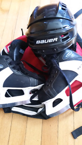 Kids ice skates and helmet as new