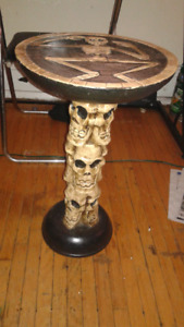 Handmade Wooden Skull End Table