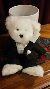 collectable teddy bears White lace promise bride groom