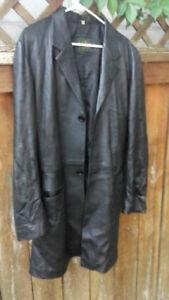 Black Davigno Italian Leather jacket - $100 OBO Trenchcoat