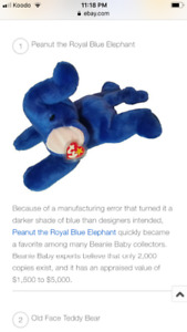 Rare TY collectable (Peanut the Royal Blue elephant)