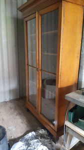 Very old English Oak display cabinet