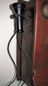 ANTIQUE NORTHERN ELECTRIC OAK WOOD WALL PHONE Kawartha Lakes Peterborough Area image 2