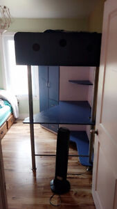 Kids double loft bed with desk and wardrobe
