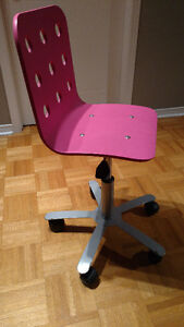 Chaise de bureau junior, rose, gris argent (Ikea)