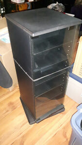 BLACK STEREO CABINET FOR CD'S & CASSETTES