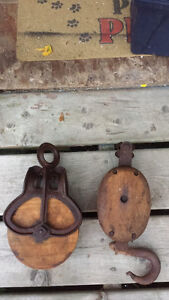 Block and tackle with wood pulley