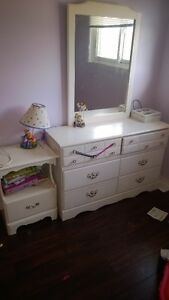 Wood Dresser mirror and side table