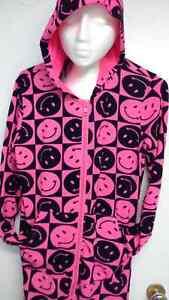 hooded pink & black happy face onesie pajama