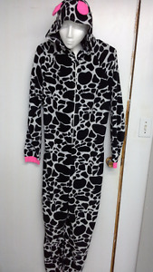 hooded adult cow onesie pajama size L