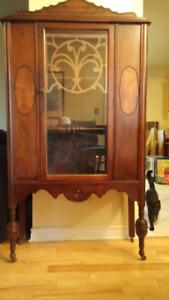 3 piece solid wood antique bufffet,  side cart ,  display hutch