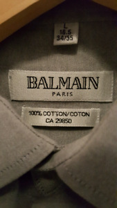 Balmain gray cotton dress shirt