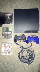 320gb ps3 with 2 controllers and 3 games