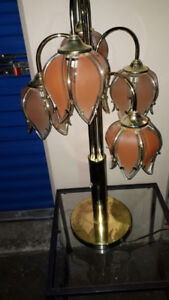 Two Beautiful Pink Glass on Brass Lamps  (139)
