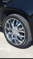 24 inch chrome rims with new tires